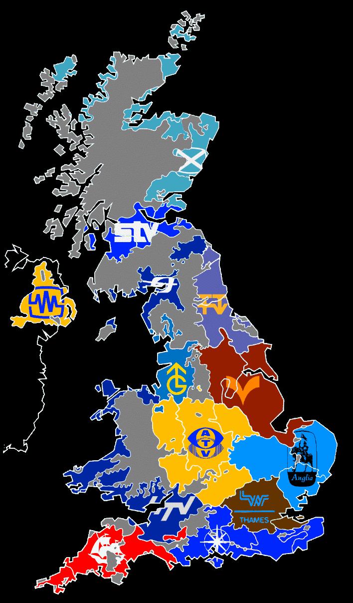 ITV regions map 1977