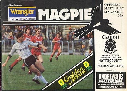 Notts County v Oldham Athletic 1984/85