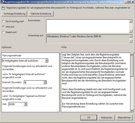 Registrierungsdatei für servergespeicherte Benutzerprofile im Hintergrund hochladen
