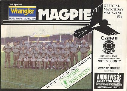 Notts County v Oxford United 1984/85
