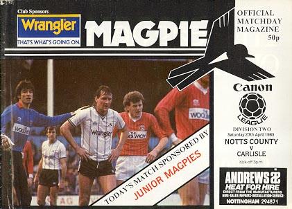 Notts County v Carlisle United 1984/85