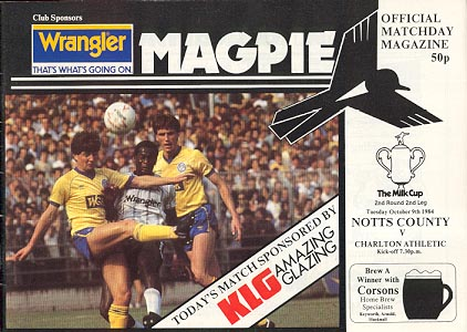 Notts County v Charlton Athletic [League Cup] 1984/85