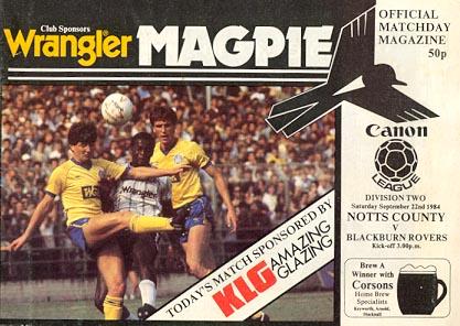 Notts County v Blackburn Rovers 1984/85