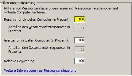 Hyper-V Reserve für virtuellen Computer