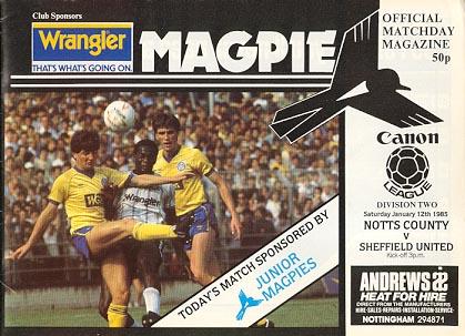 Notts County v Sheffield United 1984/85