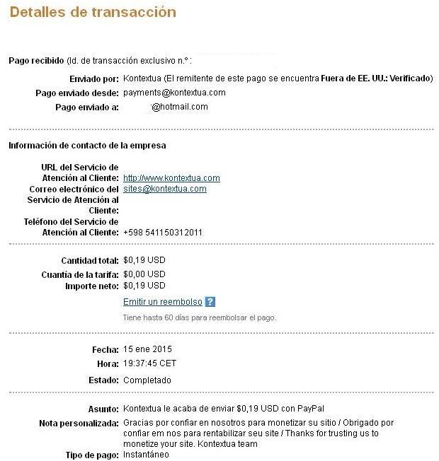Kontextua, comprobantes de pagos recibidos  PagoKontextuaEnero15