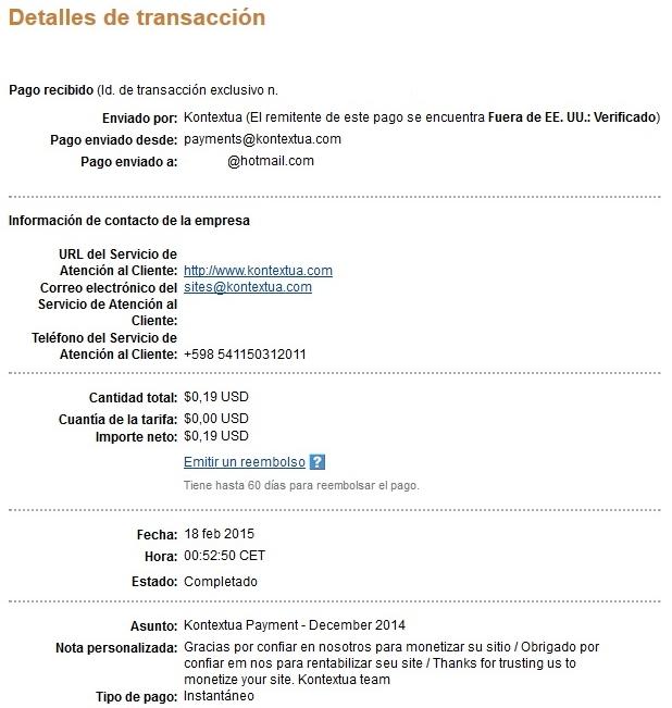 Kontextua, comprobantes de pagos recibidos  PagoKontextuaEnero2015