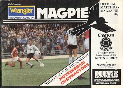 Notts County v Crystal Palace 1984/85