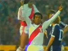 Cubillas celebrates scoring for Peru v Scotland