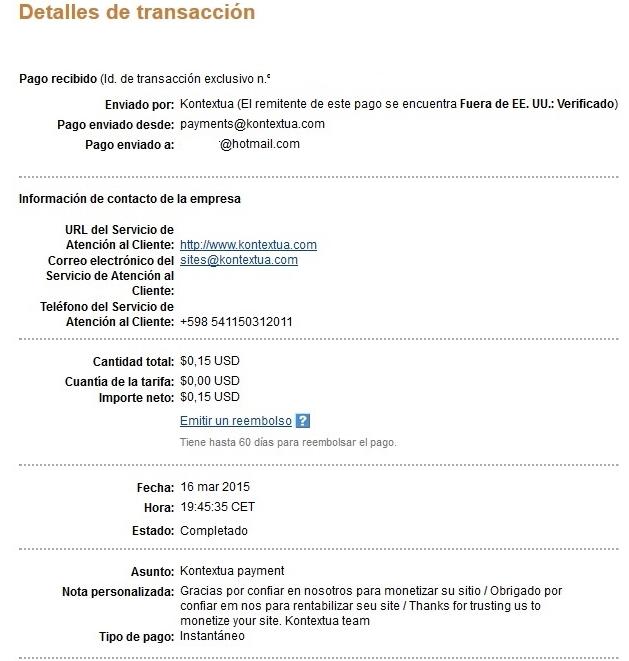 Kontextua, comprobantes de pagos recibidos  PagoKontextuaFebrero2015