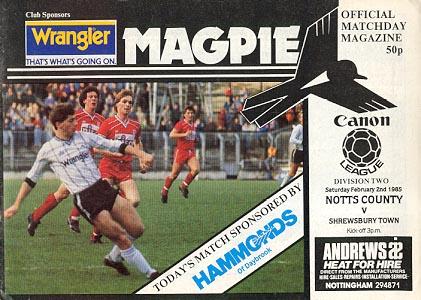 Notts County v Shrewsbury Town 1984/85