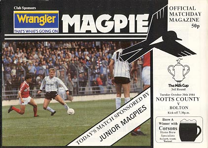 Notts County v Bolton Wanderers [League Cup] 1984/85