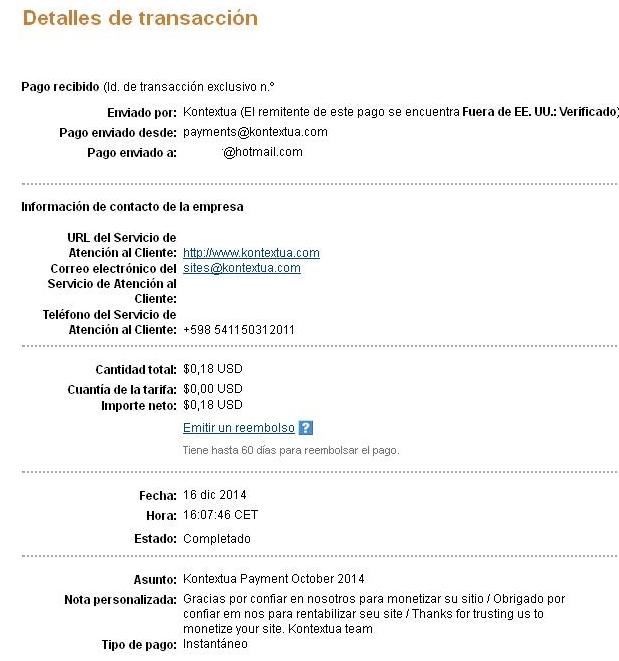 Kontextua, comprobantes de pagos recibidos  PagoKontextua_diciembre2014