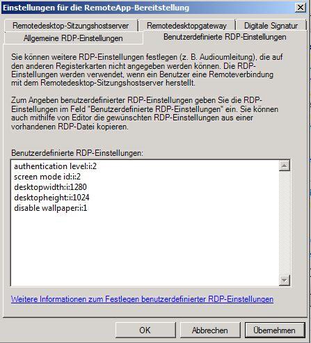 benutzerdefinierte RDP Einstellungen RD Web Access