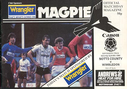 Notts County v Wimbledon 1984/85