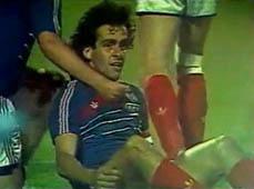 Platini after scoring v Portugal, 1984