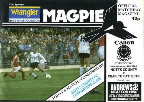 Notts County v Charlton Athletic 1984/85