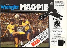 Notts County v Barnsley 1984/85