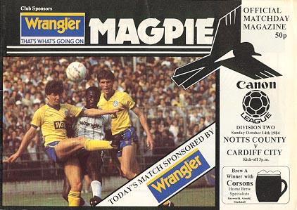Notts County v Cardiff City 1984/85
