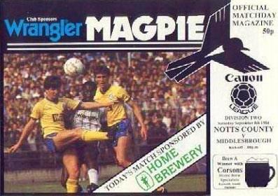 Notts County v Middlesbrough 1984/85