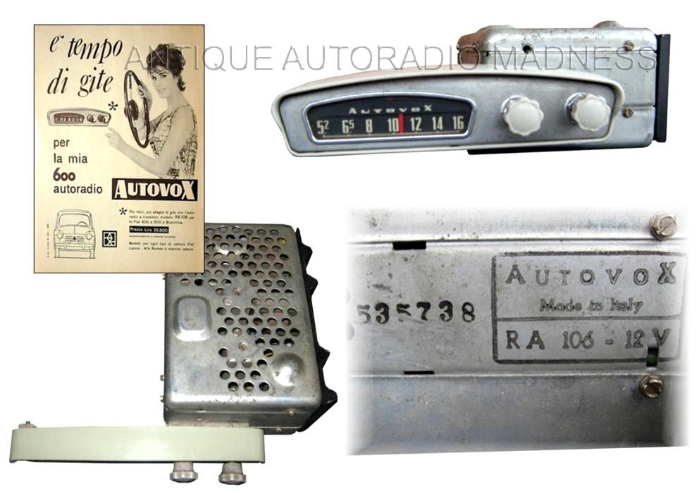 Vintage autoradio AUTOVOX model RA 106 - FIAT 600